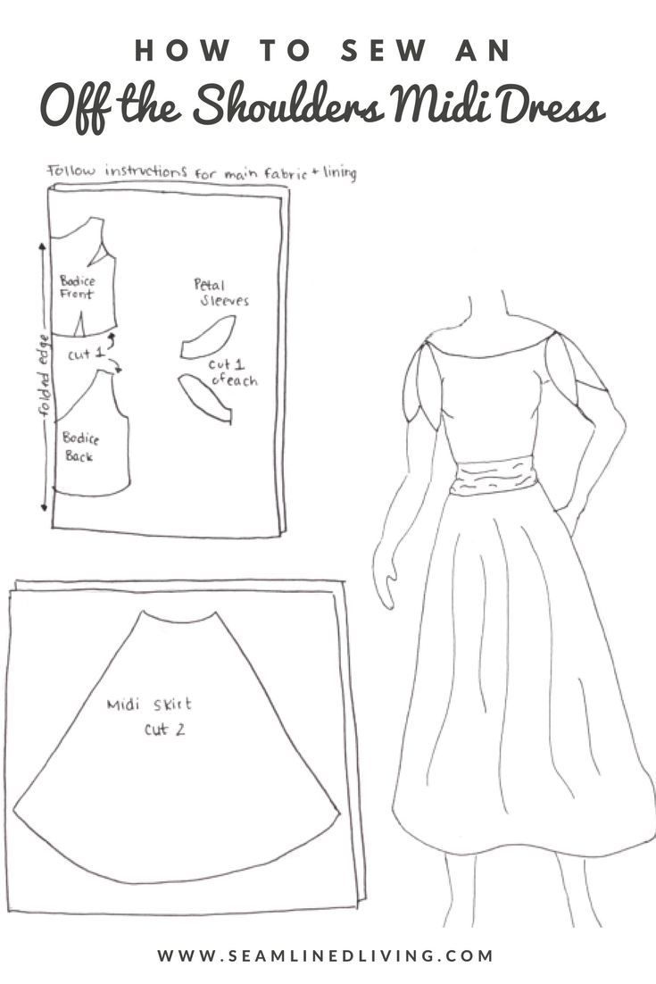 DIY Petal Sleeve Dress - Sewing Pattern Sketch | Seamlined Living