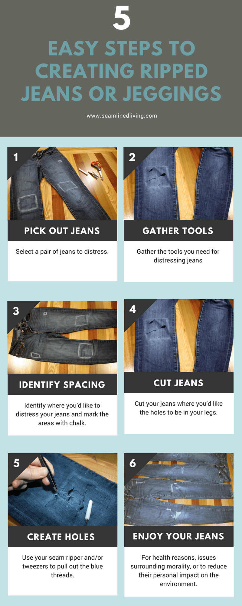 DIY ripped jeans tutorial infographic | DIY Ripped Jeans | Seamlined Living
