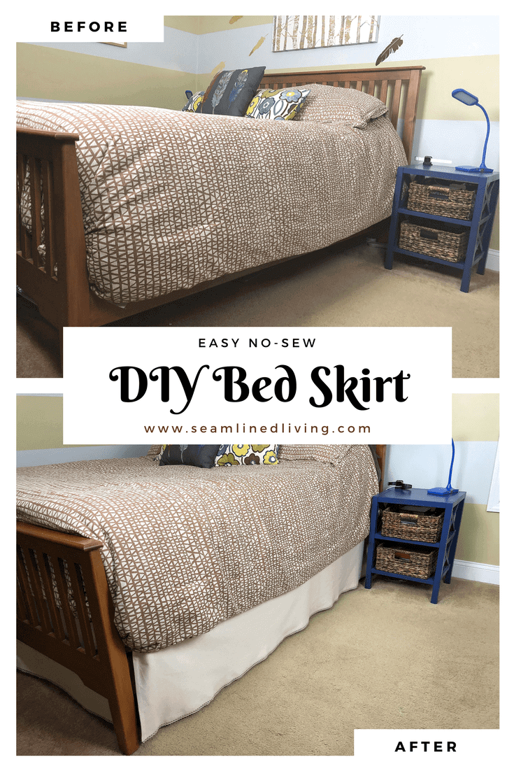 How To Make A Diy Bed Skirt No Sew Project Seamlined Living