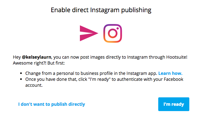 How to schedule publish instagram posts with hootsuite seamlined enable direct publishing on instagram hootsuite tips seamlinedliving ccuart Gallery