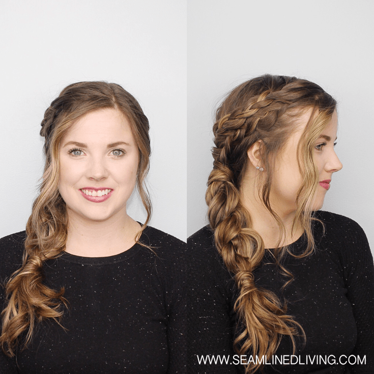 Triple Braid Side Ponytail with Curls